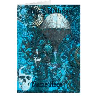 Blue Steampunk Greeting Card