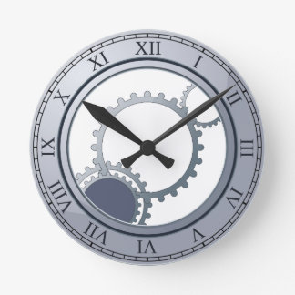Blue steampunk wall clock