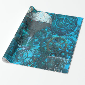 Blue Steampunk Wrapping Paper