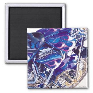 """""""Blue Steel"""" Motorcycle Watercolor Magnet"""