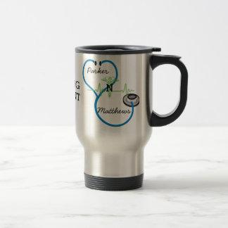 Blue Stethoscope Nursing Student Caduceus Name Travel Mug