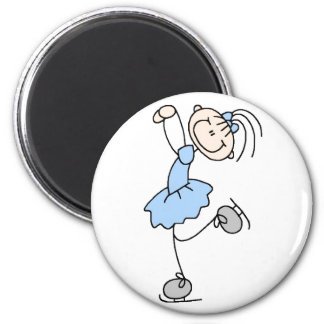 Blue Stick Figure Girl Skater Magnet