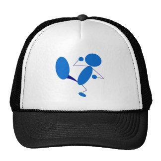 Blue Stick Figure Kicking Mesh Hat
