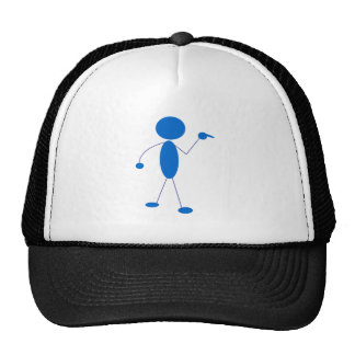 Blue Stick Figure Pointing Hats