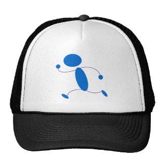 Blue Stick Figure Running Mesh Hats