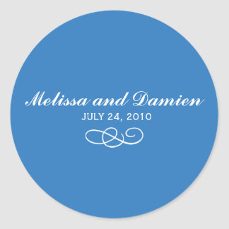 Blue Sticker - Bride and Groom with Date