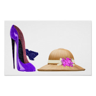 Blue Stiletto Shoes and Hat Art Poster