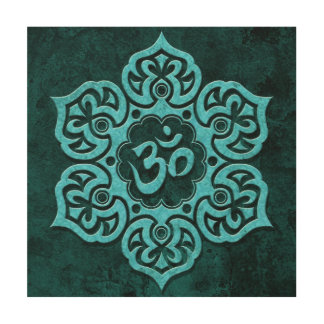 Blue Stone Floral Om Wood Canvases