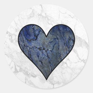 Blue Stone Heart Classic Round Sticker