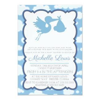 Blue Stork Baby Shower Invitation
