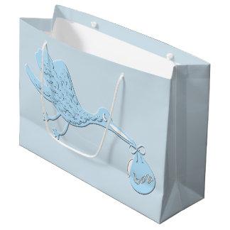 Blue Stork Delivering Boy Large Gift Bag