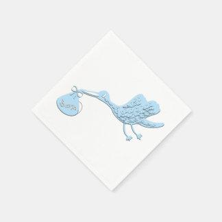 Blue Stork Delivering Boy Paper Napkins