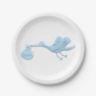 Blue Stork Delivering Boy Paper Plate