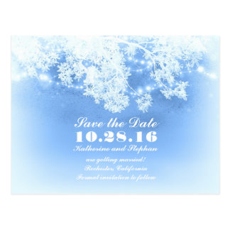 blue string lights winter save the date postcard