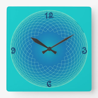 blue string pearls square wall clock