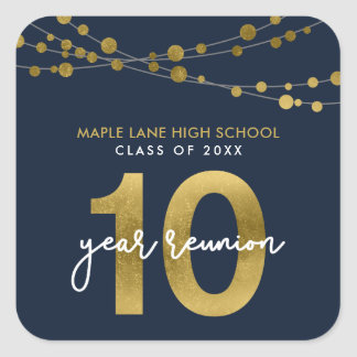 Blue Strings of Lights 10 Year School Reunion Square Sticker
