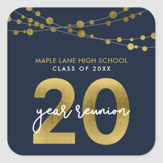 Blue Strings of Lights 20 Year School Reunion Square Sticker