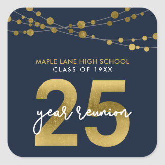 Blue Strings of Lights 25 Year School Reunion Square Sticker