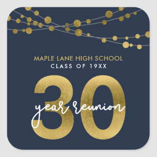 Blue Strings of Lights 30 Year School Reunion Square Sticker