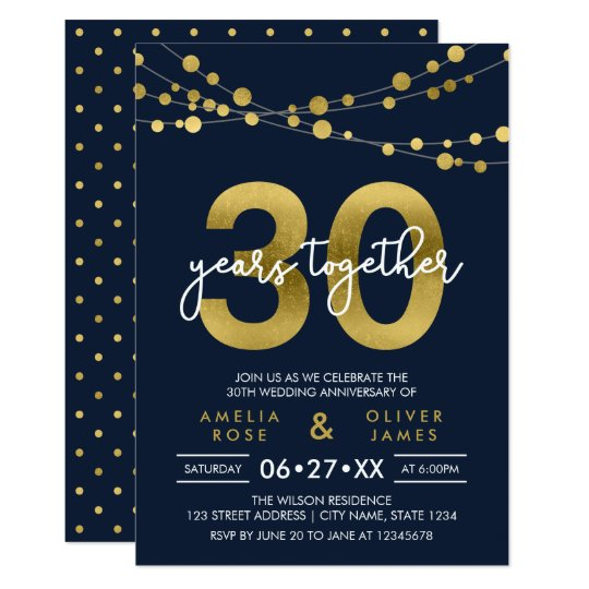 Blue Strings of Lights 30th Wedding Anniversary Card
