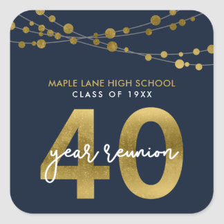 Blue Strings of Lights 40 Year School Reunion Square Sticker