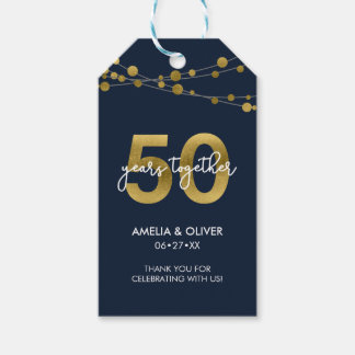 Blue Strings of Lights 50th Wedding Anniversary Gift Tags