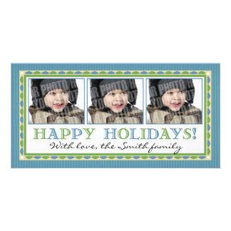 Blue stripe 3 photo card