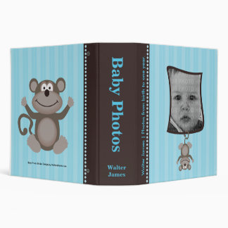 Blue Stripe Baby Photo Album with Monkey Vinyl Binder