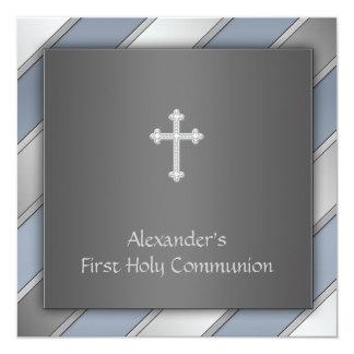 "Blue Stripe Boys First Communion 5.25"" Square Invitation Card"