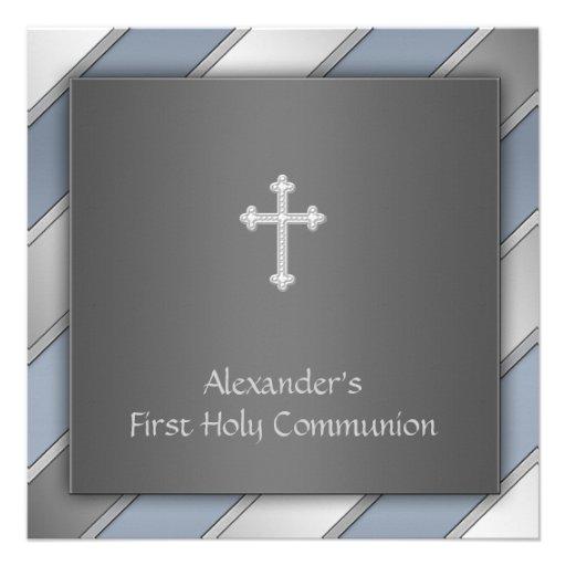Blue Stripe Boys First Communion Personalized Invites