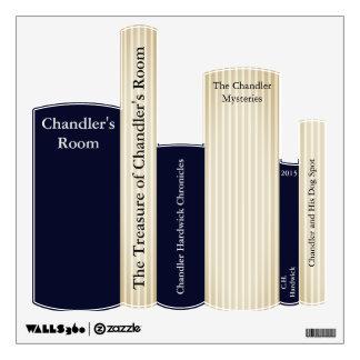 Blue Stripe Boy's Name Books Wall Decal