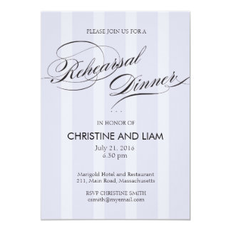 Blue Stripe Flourish Script Rehearsal Dinner Card