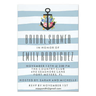 Blue Stripe Nautical Rose Bridal Shower Invitation