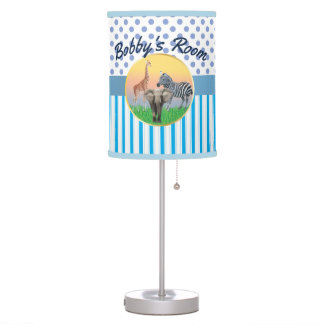 Blue Stripe/Polka Dot Zoo Animal Boys Room Table Lamp