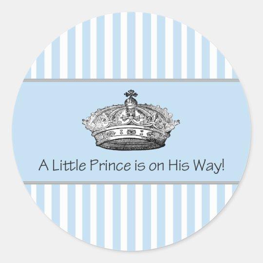 Blue Stripe Prince Crown Baby Boy Envelope Seal