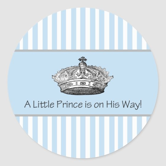Blue Stripe Prince Crown Baby Boy Envelope Seal Round Sticker