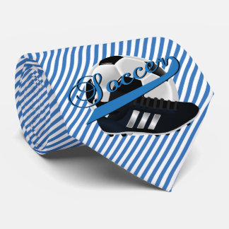 Blue Stripe Soccer Player Tie