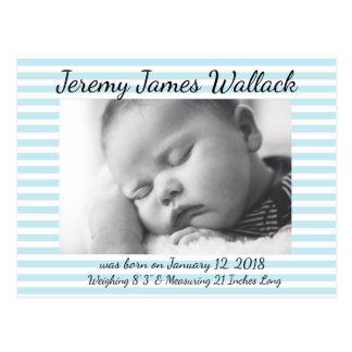 Blue Striped Baby Boy Birthday Annoucnements Postcard