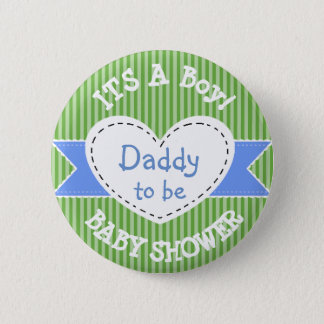 Blue Striped Baby Shower Button Dad to Be Button
