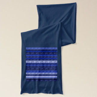 blue striped bicycles pattern scarf