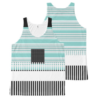 Blue-Striped--Black-Summer-Fun-Women-Tank-Top All-Over-Print Tank Top
