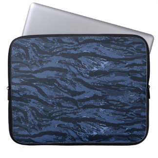 Blue Striped Camo Laptop Computer Sleeves