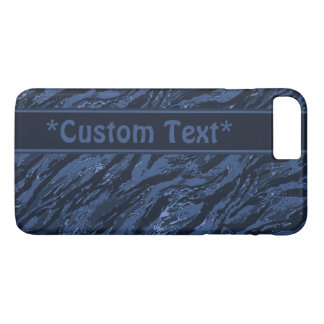 Blue Striped Camo w/ Custom Text iPhone 8 Plus/7 Plus Case