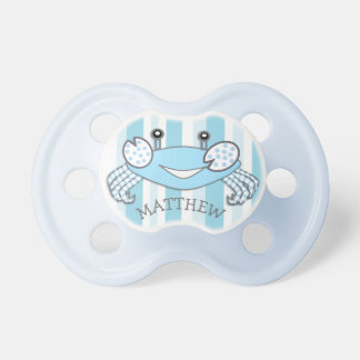 Blue Striped Crab Nautical Baby Boy Pacifier