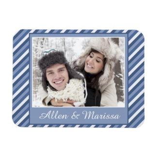 Blue Striped Custom Photo Flex Magnet