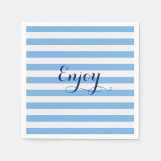 Blue Striped Enjoy Festive Party Paper Napkins
