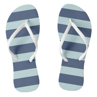 Blue Striped Flip Flops