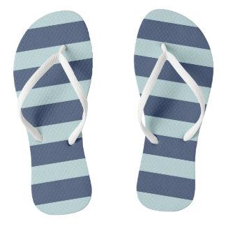 Blue Striped Flip Flops