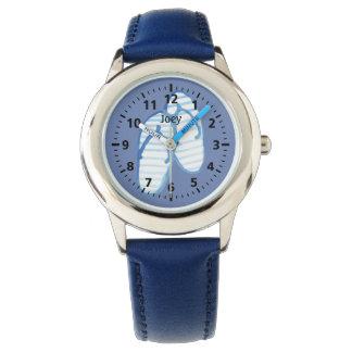 Blue Striped Flip Flops on Blue Personalized Watch
