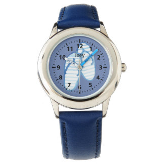 Blue Striped Flip Flops on Blue Personalized Wrist Watches